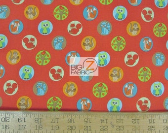 """100% Cotton Fabric By RJR Fabrics - Woodland Park Animals Red - 45"""" Wide By The Yard (FH-2027)"""