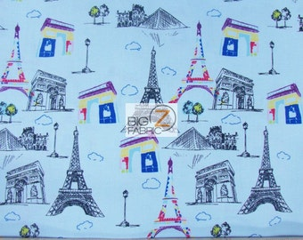 "100% Cotton Fabric By Riley Blake - Pepè In Paris Eiffel Tower Blue - 45"" Width Sold By The Yard (FH-2038)"