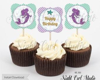 Mermaid Cupcake Toppers-Printable Cupcake Toppers-Mermaid-Under the Sea-Printable-Instant Download