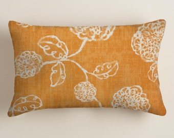 Orange Pillows -  Accent   Pillows - Lumbar  Decorative Throw Pillow Cover Floral Decor Orange Floral Cushion Covers Fall Decor