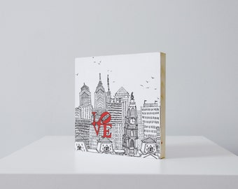 8x8 Love Park Philly woodblock print | CLEARANCE