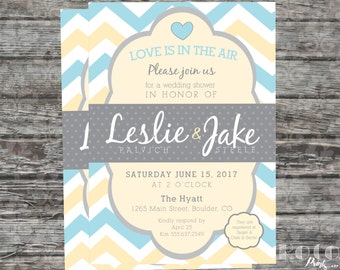 Chevron Love Is In The Air Tiffany Blue and Yellow Printable Wedding/Bridal Shower Invitation
