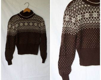 WInter Ski Sweater / Vintage Sweater / Nordic Snowflake Sweater / Turtleneck Sweater / Scandi Slopes Sweater S/M
