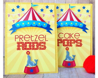 Circus Carnival Decorations / table sign / Tabletop Birthday Decor / Cirque Party theme / Customized  sc 1 st  Etsy & Circus dessert table | Etsy
