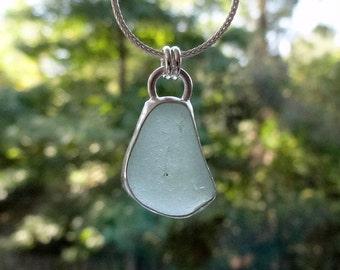 Seafoam Green Sea Glass Pendant - Natural Sea Glass, Genuine Sea Glass