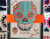 Halloween Party Invitations , Sugar Skull Invitation, Dia de los muertos, Dia de los Muertos Invitations, Sugar Skulls