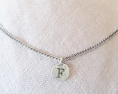"""F initial Necklace, Personalized teen, """"F"""" monogram choker, Unique hipster """"personalized best friend gift"""", Edgy silver """"F"""" charmer jewelry"""