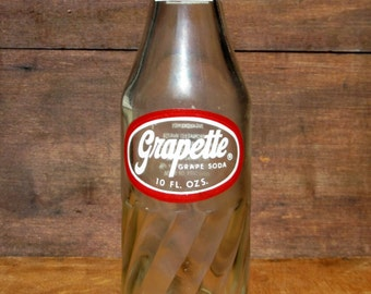 Vintage Glass Grapette Soda Pop Bottle King Size with Swirl Ridged Body Collectible Home or Wedding Decor, Repurpose as a Vase