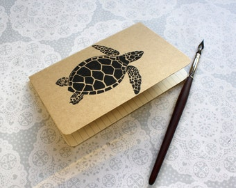 Turtle note book | Moleskine | Cahier Journal | Lined pages | Lino print | Handmade | Pocket size |