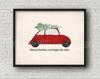 Old Red Car Christmas Printable Art Car Christmas Tree Art Print (5AOWDe49) Merry Christmas Happy New Year Art 11x14 Holiday Decorating