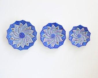 Decorative traditional dishes -set of 3 Persian Minakari enameled copper plates - blue wall decor//table decor