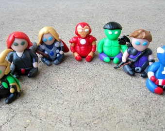 Mini Avengers + Loki Clay Sculptures