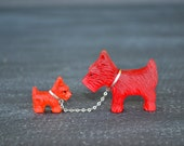 Vintage Red Czech Glass Scottie Dogs ~ Red Frosted Glass Dogs ~ Antique Dog Figurines ~ Chain leash and Collars