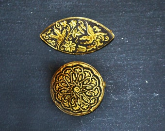 Two Vintage Damascene Brooches