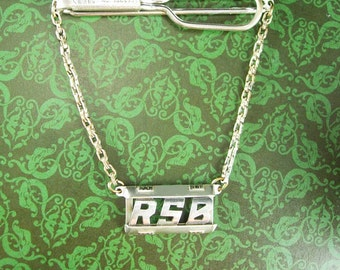 Personalized Tie clip Letter RSB Initial jewelry Vintage Silver fancy chain Wedding groom  father of the bride Groomsman Dad Swank 1865995