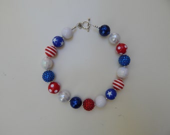 Little Girls Red White and Blue Necklace Little Girls Chunky Necklace Little Girls Bubble Gum Beads Necklace July 4th Chunky Necklace