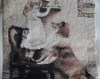 LITTLE GIRL & DOG a beautiful finished Bulgarian gobelin unframed