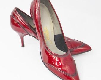 1950's candy apple red Tweedies patent leather heels