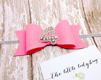 Birthday Sadie Bow in Bubble Gum Pink, Rhinestone Number--Headband or Clip