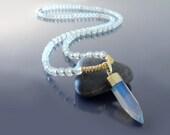 White opal necklace 108 mala beads necklace 108 Prayer beads necklace Mala meditation beads Meditation necklace Yoga mala necklace Japa mala