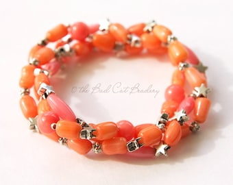 Coral, Tangerine and Silver Stack Stretch Bead Bracelet Boho Style
