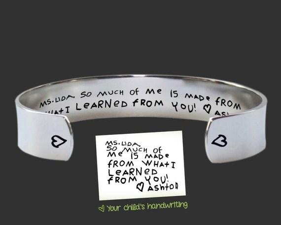 Teacher Gift | Gift for Teachers | Daycare Gift | Babysitter Gift | Nanny Gift | Handwriting Jewelry | Korena Loves