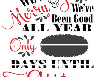 Merry & Jolly Christmas Countdown Cut able SVG design file
