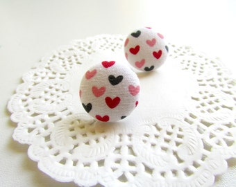 Tiny Heart Studs, Fabric Button studs, Heart Earring Studs, Mini Studs Posts, Love Earring Studs, Heart Studs Posts, Valentines Jewelry