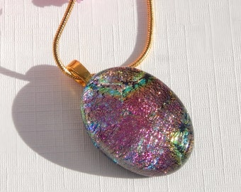 Small Oval Pink Glass Pendant - Dichroic Glass Necklace - Fused Glass Jewelry