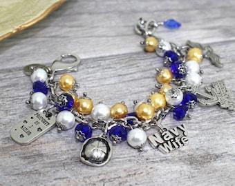 USN Wife Charm Bracelet in Stainless Steel | USN Girlfriend, Mother Bracelet | Navy Wife, Girlfriend Jewelry | Military Wife Bracelet