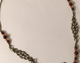 Interchangeable Steampunk Necklace with Tigers Eye.