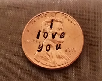 i LOVE YOU PENNY, wedding, add on to a necklace, birthday gift, anniversary, couples gift, christmas, stamped lucky penny,