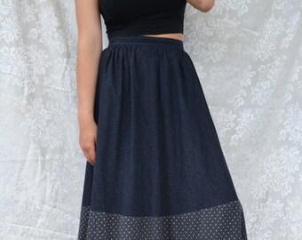 70's Prairie hippie skirt tiered maxi Gunne Sax flower power black with patterned cotton