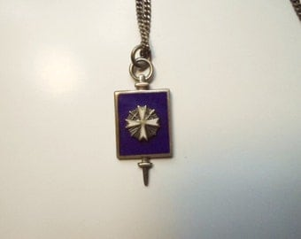Vintage Sterling Mason DeMolay Fraternal Honor Award Key White and Blue Enamel 18 Inch Chain Collectible Masonic Pendant Jewelry
