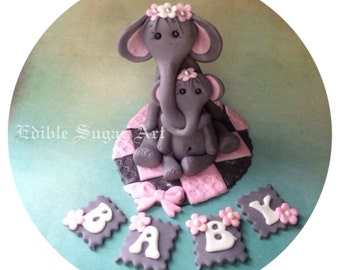 ELEPHANT CAKE TOPPER Fondant baby shower cake topper safari jungle animal edible cake topper
