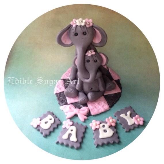 elephant cake topper fondant baby shower cake topper safari jungle