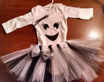 Girl Tutu Skirt with Ghost Onesie Costume