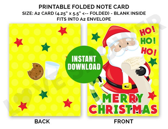 Christmas Card. Merry Christmas. A2 Size Printable Note ...