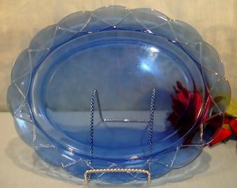 Newport or Hairpin by Hazel Atlas Cobalt Blue Depression Glass Platter