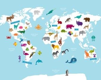 Animal World Map Light Blue Poster Print