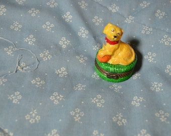 Small Trinket Box with a Puppy on the Top
