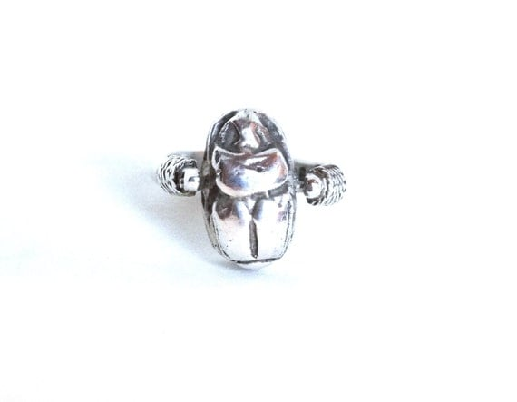 vintage scarab ring sterling silver beetle eqyptian jewelry
