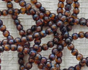 4mm Dark Amber Round Beads -2497- Dark Amber 4mm Druk Beads - Amber Brown 4mm Smooth Round Beads - 50 Beads