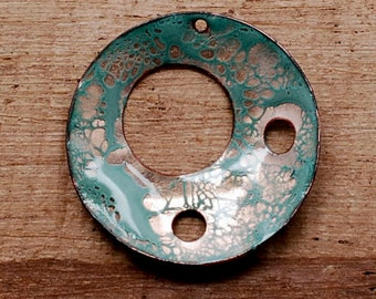 "1 1/2"" Round Enamel Copper Pendant - Kiln Fired Enameled Round Pendant - E44"