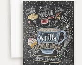 Birthday Card - Vanilla Buttercream Frosting - Birthday Cake Card - Hand Lettered Card - Baking Recipe - Chalkboard Card - Chalk Art