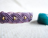 Purple Handmade Macrame Woven Bracelet with Brass Beads