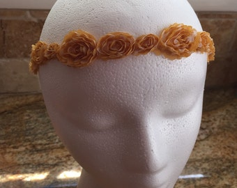 Mustard Yellow Fall Color Fabric Flower Crown Headband, Baby Girl Headband, Newborn Headbands, Women Headband, Girl Crown Headband