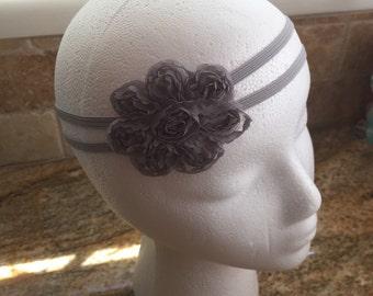 Light Grey Shabby Chiffon Fabric Flower Headband, Baby headbands, Baby Girl Headband, Infant Headband, Women Headband