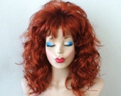 Cosplay wig.  Auburn wig. Curly hairstyle Copper auburn color Wig. Costume wig. Adult Halloween Costume wig.