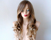 Ash Brown / Ash blonde Ombre wig. Long curly hair long side bangs Durable Heat resistant wig for daytime use or Cosplay.